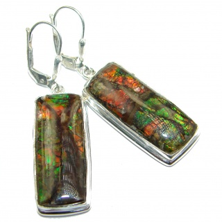 Orange Aura Fire Ammolite .925 Sterling Silver handcrafted earrings