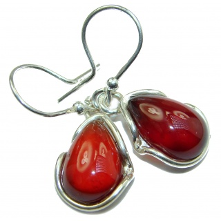 Authentic genuine Garnet .925 Sterling Silver handmade earrings