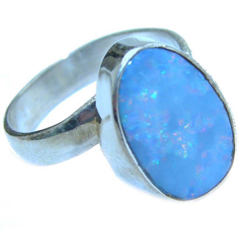 Fire Opal .925 Sterling Silver handmade ring size 7