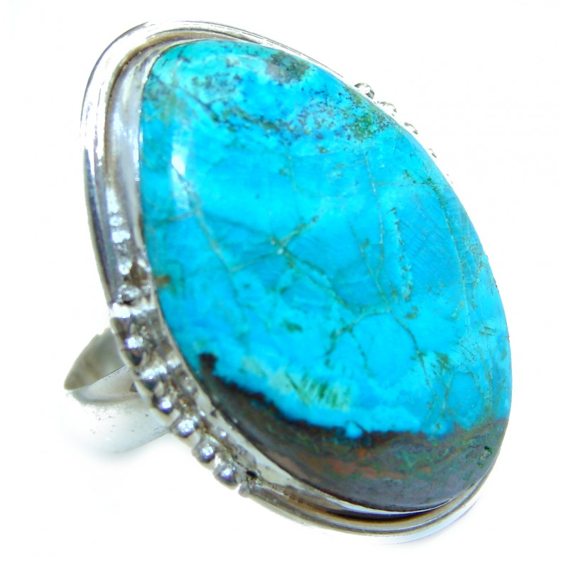 Stone Of Harmony Parrots Wing Chrysocolla .925 Sterling Silver ring s. 8