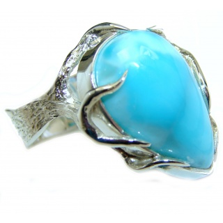 Natural Larimar .925 Sterling Silver handcrafted Ring s. 8 1/2