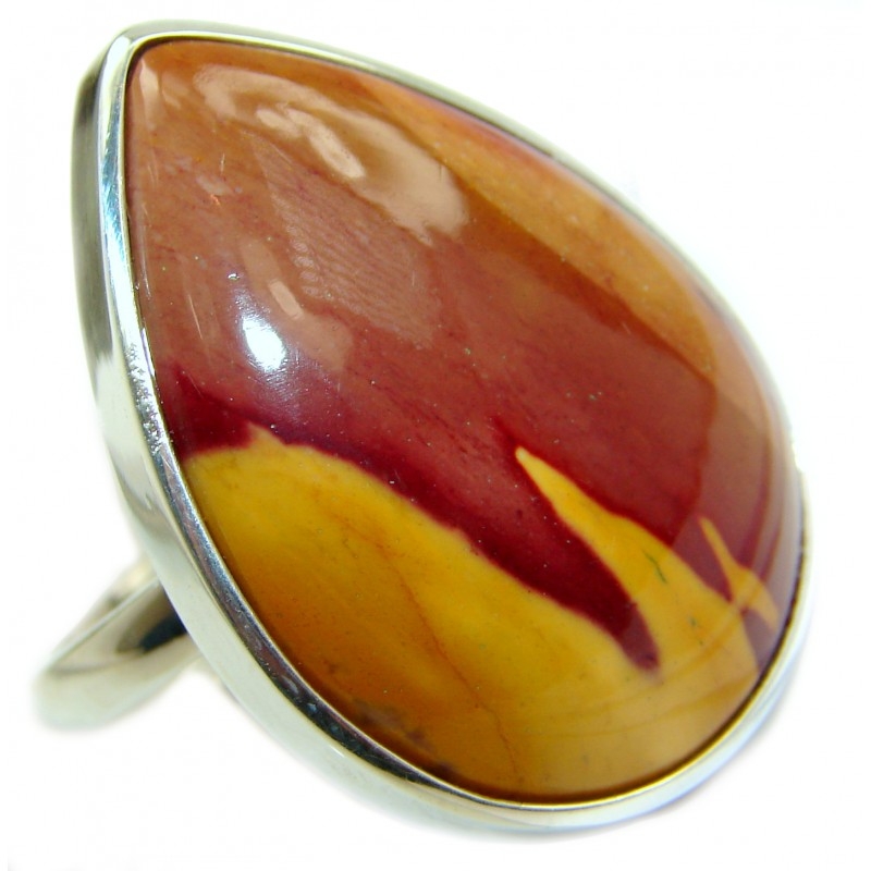 Mookaite .925 Sterling Silver handmade ring size 8 adjustable