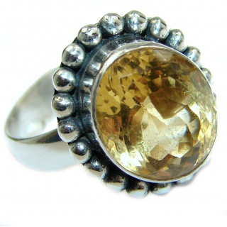 Natural Citrine .925 Sterling Silver handcrafted Ring s. 8