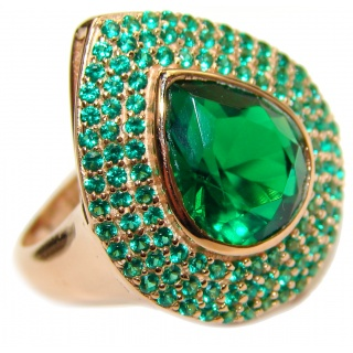Genuine Emerald 18K Gold over .925 Sterling Silver handmade Cocktail Ring s. 7