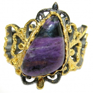 Natural Siberian Charoite Gold over .925 Sterling Silver handcrafted ring size 6 1/4