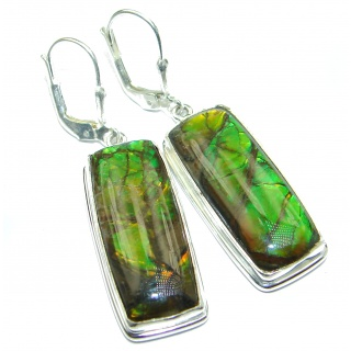 Green Aura AAA + Fire Ammolite .925 Sterling Silver handcrafted earrings