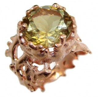 Majestic Peridot .925 Sterling Silver handmade Statement Ring s. 6 1/4