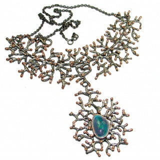 Spectacular Rustic Style Australian Doublet Opal .925 Sterling Silver brilliantly handcrafted necklace