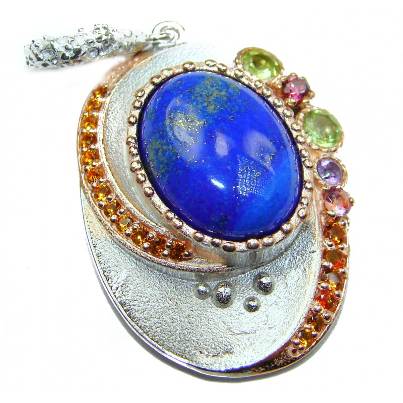 Perfect Natural Lapis Lazuli .925 Sterling Silver handcrafted Pendant