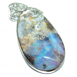 Rustic Design Authentic Australian Boulder Opal .925 Sterling Silver handmade Pendant