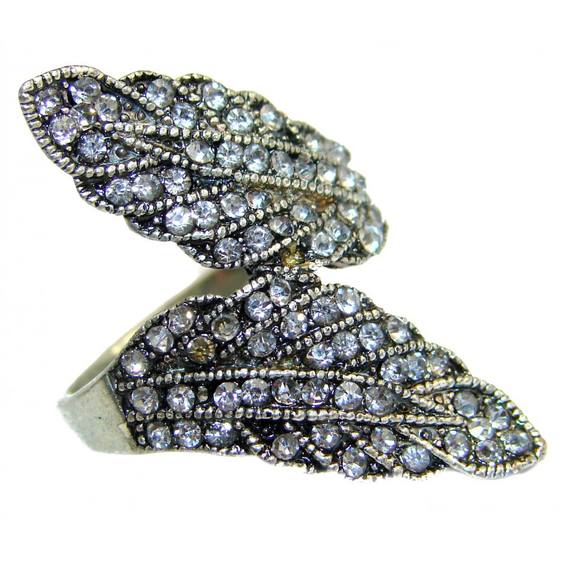 Fancy Marcasite .925 Sterling Silver Cocktail ring s. 8 3/4