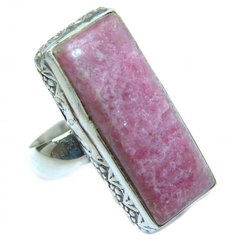 Big Authentic Rhodonite .925 Sterling Silver handcrafted Ring s. 6