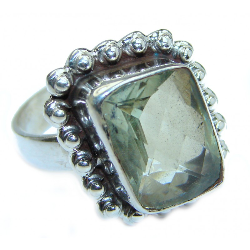 Natural Green Amethyst .925 Sterling Silver handmade Cocktail Ring s. 8 1/4