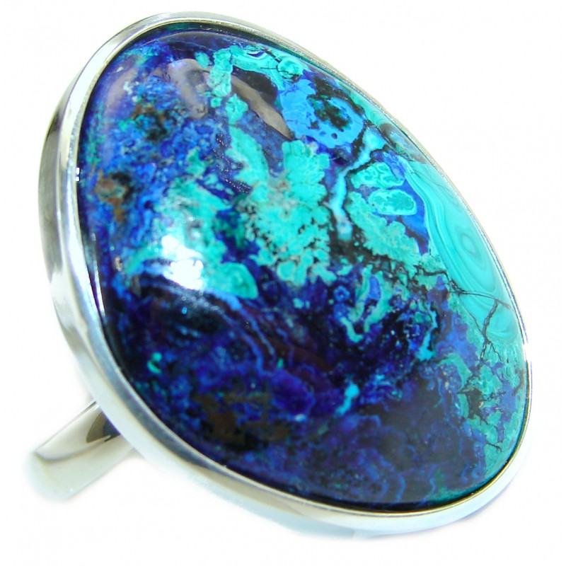 Great quality Blue Azurite .925 Sterling Silver handcrafted Ring size 8 adjustable