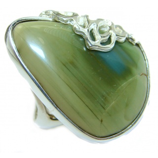 Genuine Imperial Jasper .925 Sterling Silver handcrafted ring s. 5 1/2