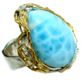 Natural Larimar 18K Good over .925 Sterling Silver handcrafted Ring s. 9