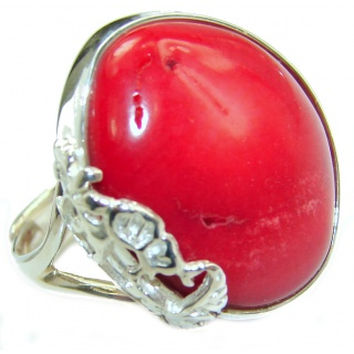 Natural Fossilized Coral .925 Sterling Silver handmade ring s. 8 adjustable