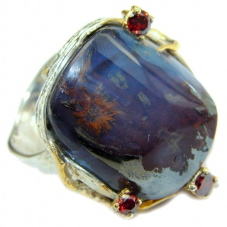 Huge Australian Boulder Opal two tones .925 Sterling Silver handcrafted ring size 8 1/4