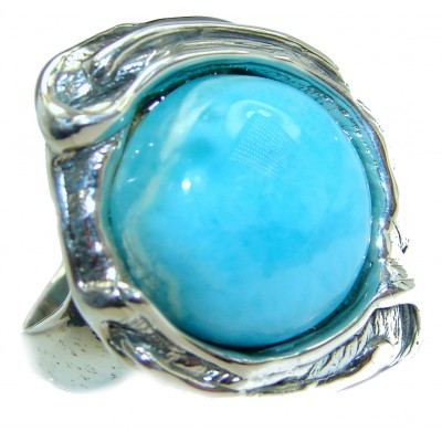 Natural Larimar .925 Sterling Silver handcrafted Ring s. 8 adjustable