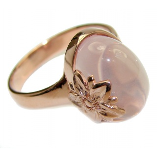 Best Quality Rose Quartz Rose Gold over .925 Sterling Silver handcrafted ring s. 7 3/4