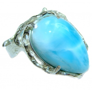 Natural Larimar .925 Sterling Silver handcrafted Ring s. 9