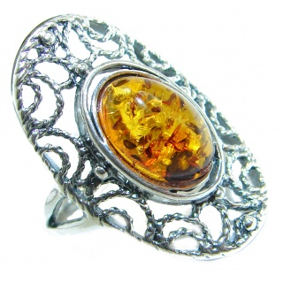 Huge Baltic Amber .925 Sterling Silver handcrafted ring; s. 8