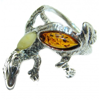 Incredible Lizard Amber .925 Sterling Silver handmade ring s. 6 1/4