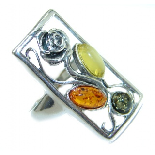 Baltic Amber .925 Sterling Silver ring; s. 6