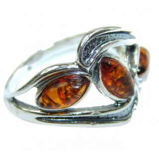 Baltic Amber .925 Sterling Silver ring; s. 8 3/4