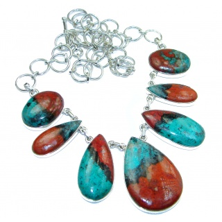 Massive best quality Sonora Jasper .925 Sterling Silver handmade Necklace