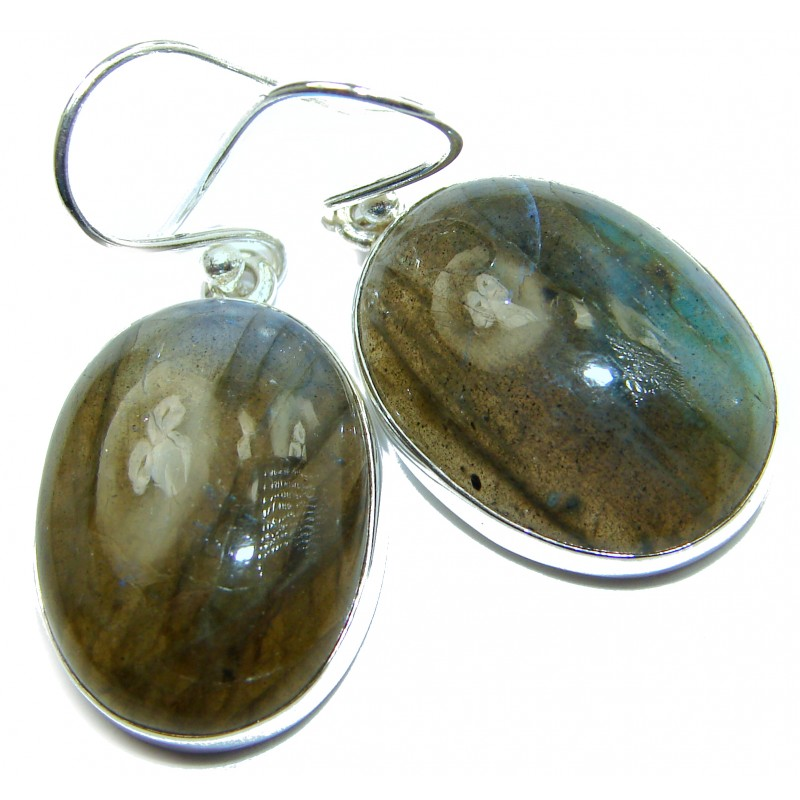 Natural Labradorite .925 Sterling Silver handcrafted Earrings