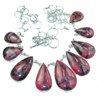 Huge Incredible Beauty Pink Rasberry Rhodonite .925 Sterling Silver handcrafted necklace