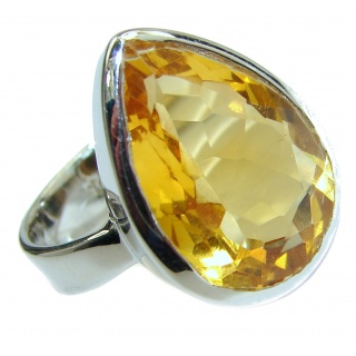 Vintage Style Natural Citrine .925 Sterling Silver handcrafted Ring s. 7