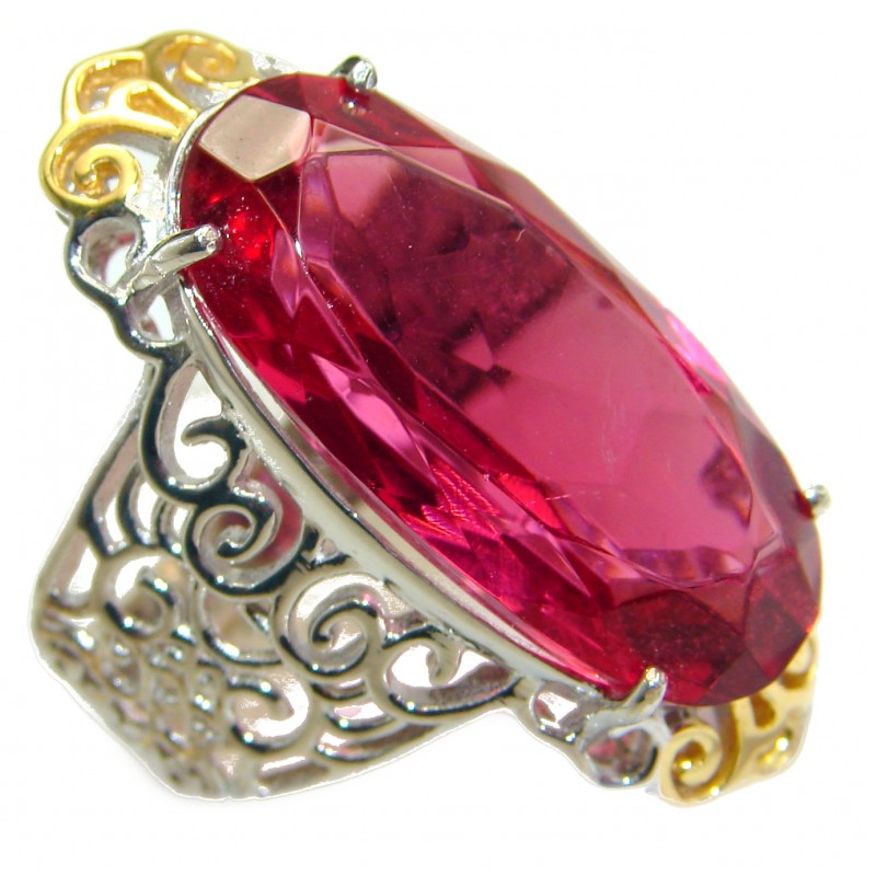 Exotic Pink Raspberry Topaz two tones .925 Sterling Silver handcrafted Ring s. 6