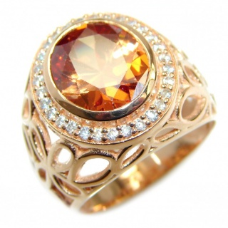 Exotic Golden Topaz Gold over .925 Sterling Silver handcrafted Ring s. 6 1/4