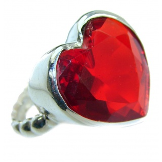 Sweet Heart Red Topaz .925 Silver handcrafted Ring s. 6