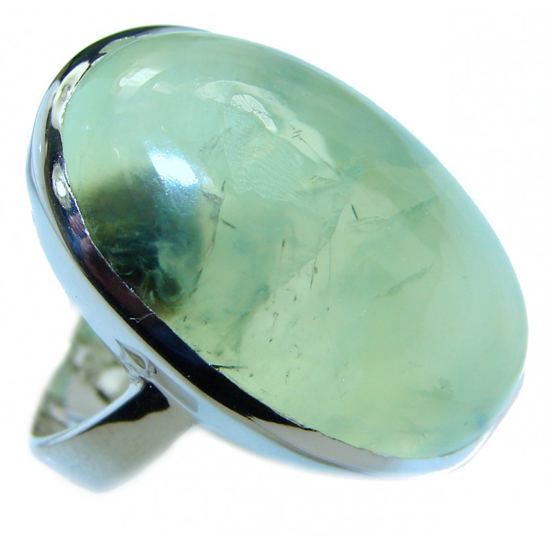 Natural Moss Prehnite .925 Sterling Silver handmade ring s. 7