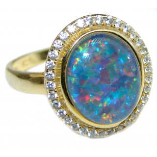 Australian Doublet Opal 14K Gold over .925 Sterling Silver handcrafted ring size 7