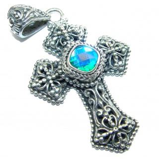 Holy Cross genuine Blue Aqua Topaz .925 Sterling Silver handmade pendant