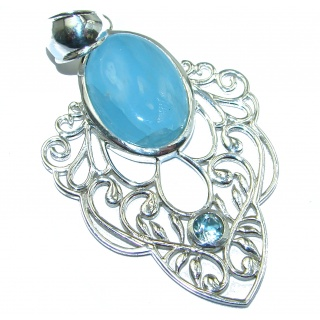 Genuine 35 ct Aquamarine .925 Sterling Silver handmade Pendant