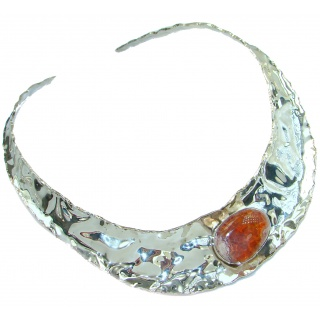 Gallery Piece Natural Mexican Fire Opals Hammered .925 Sterling Silver necklace Chocker