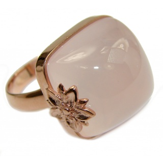 Best Quality Rose Quartz 18 K Gold over .925 Sterling Silver handcrafted ring s. 8 1/4