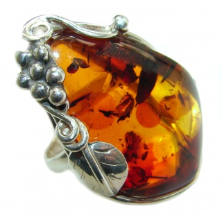 Huge Baltic Amber .925 Sterling Silver handcrafted ring; s. 9 1/2