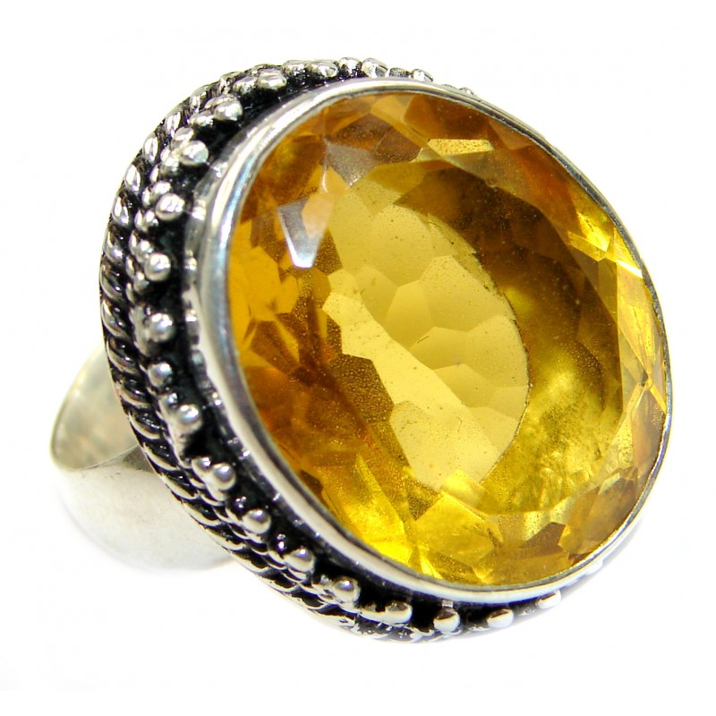 Huge Exotic Sunny quartz .925 Silver Ring s. 7 1/4