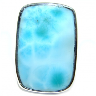 Larimar oxidized .925 Sterling Silver handcrafted ring size 7 adjustable