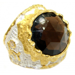 Bold Champagne Smoky Topaz 14K Gold over .925 Sterling Silver Ring size 7
