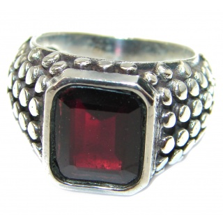 Genuine Garnet .925 Sterling Silver handmade Cocktail Ring s. 9