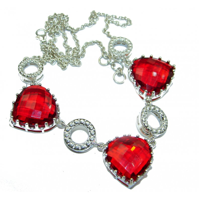 Bohemian Style One of the kind Red Quartz Sterling Silver handmade necklace