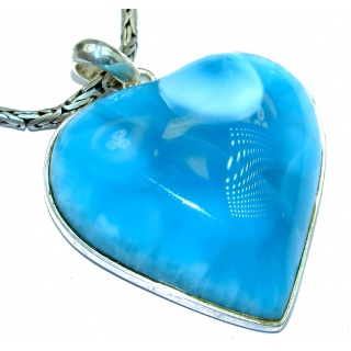 Large Angel's Heart Best quality AAAAA Larimar .925 Sterling Silver handmade necklace