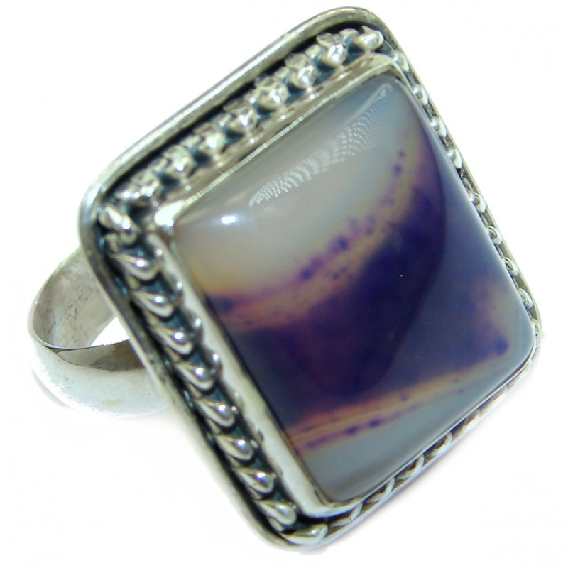 Excellent quality Crazy Lace Agate .925 Sterling Silver Ring s. 10